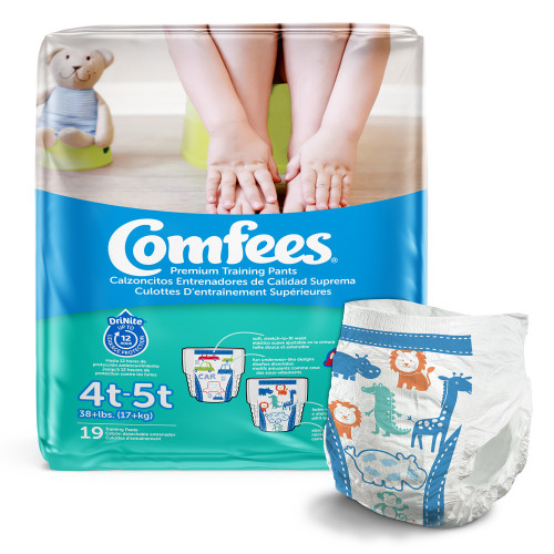 Comfees Pull-Up Premium Training Pants, Moderate Absorbency, CMF-B4, 4T-5T (38lbs+) - Case of 114 (6 Bags)
