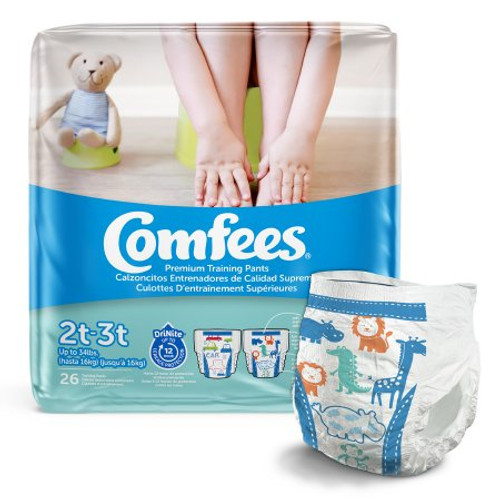 Comfees Pull-Up Premium Training Pants, Moderate Absorbency, CMF-B2, 2T-3T (Up to 34lbs) - Case of 156 (6 Bags)