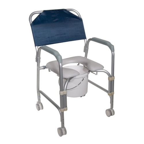 drive Aluminum Shower Chair and Commode with Casters, 11114KD-1, 1 Each