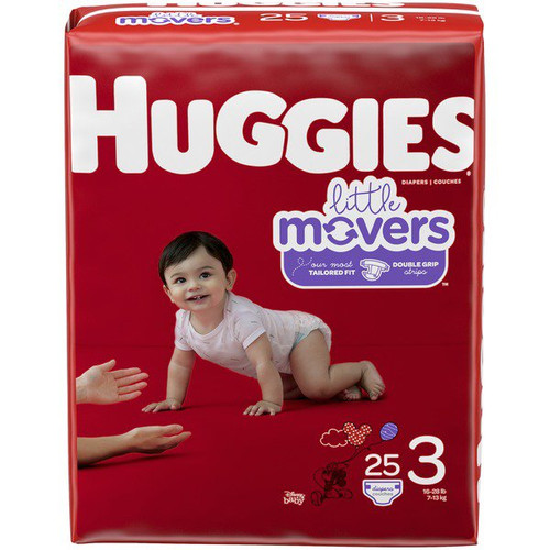 Huggies Little Movers Diapers, Moderate Absorbency, 49678, Size 3 (16-28 lbs) - Pack of 25