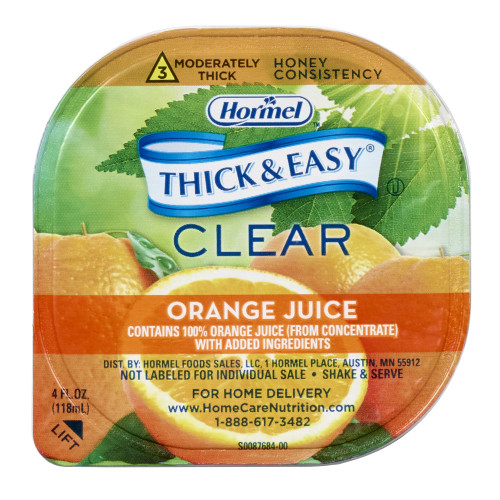 Hormel Thick & Easy Clear Thickened Beverage, Honey Consistency, Moderately Thick, Orange Juice, 32192, Case of 24