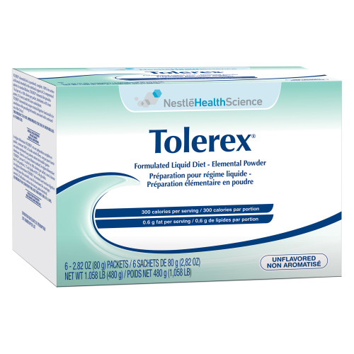 Nestle HealthScience Tolorex Formulated Liquid Diet Elemental Powder Tube Feeding Formula, 10043900458059, Carton of 6