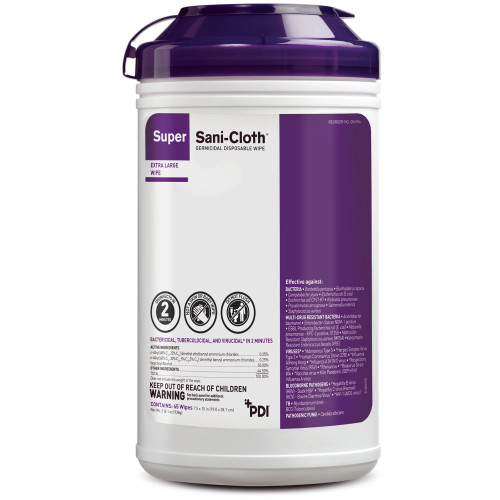 """Super Sani-Cloth Germicidal Disposable Wipe, Alcohol Scent, NonSterile, Q86984, 7-1/2 X 15"""" Canister - Count of 65"""