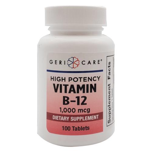 Geri Care High Potency Vitamin B-12 Dietary Supplement, 1,000 mcg, 100 Tablets, 896-01-GCP, 1 Bottle