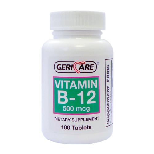 Geri-Care High Potency Vitamin B-12 Dietary Supplement, 500 mcg, 100 Tablets, 886-01, 1 Bottle