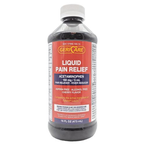 Geri-Care Acetaminophen Liquid Pain Relief, 160 mg/5 ml, Cherry, Q101-16-GCP, 1 Bottle