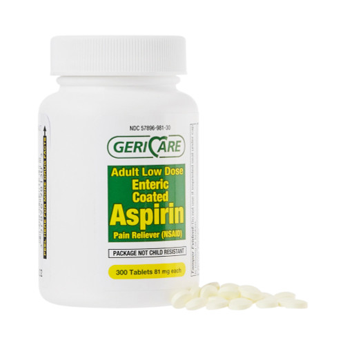 Geri-Care Adult Low Dose Enteric Coated Aspirin Pain Reliever, 81 mg, 300 Tablets, 981-30-GCP, 1 Bottle