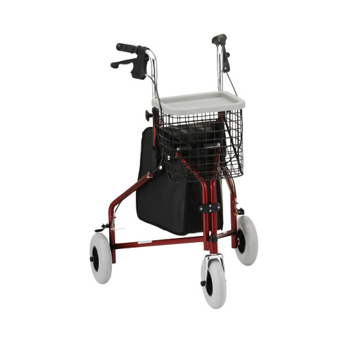 """Traveler Adjustable Height 7 Wheel Rollator, 8"""" Casters, 4900RD, Red - 1 Each"""