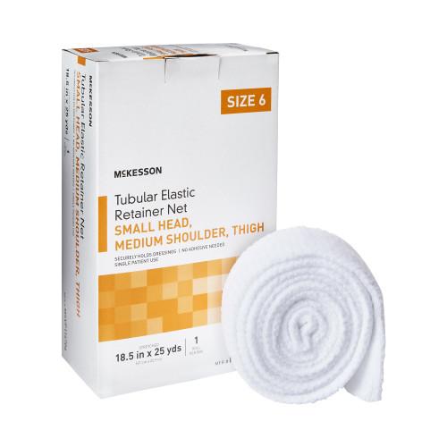 "McKesson Tubular Elastic Retainer Net, 18.5"" X 25 yd, MSVP114706, Size 6 - Small Head / Medium Shoulder / Thigh"