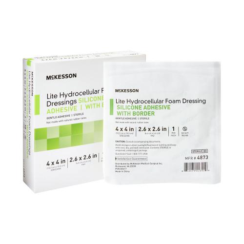 "McKesson Lite Hydrocellular Foam Dressings with Border, 4"" X 4"", Square Sterile, 4873, Box of 10"
