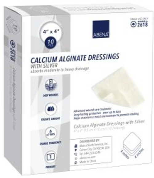 "Abena Calcium Alginate Dressings with Silver, 4 X 4"", 2618, Carton of 10"