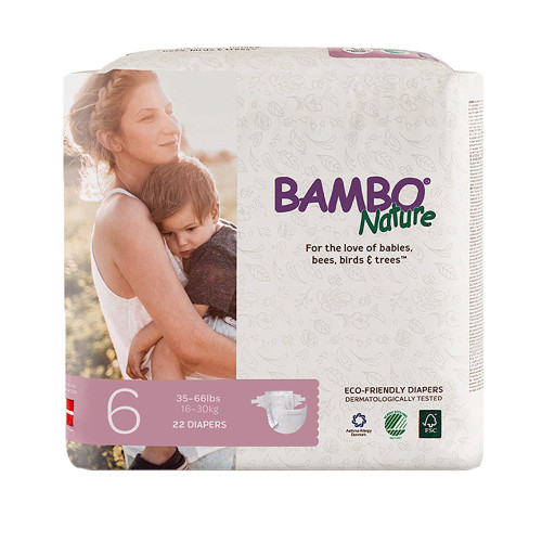 Bambo Nature Diaper, Heavy Absorbency, 16073, Size 6 (33-66 lbs) - Case of 132 (6 Packs)