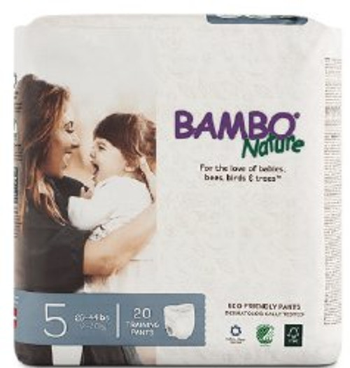 Bambo Nature Pull on Training Pants, Heavy Abosorbency, 310178, Size 5 (26-44 lbs) - Case of 100 (5 Packs)