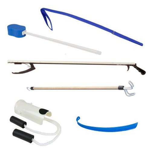 FabLife ADL Hip/Knee Equipment Kit, Reacher, Shoehorn, Dressing Stick & Leg Lifter, 66-0320, 1 Kit