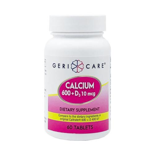 Geri-Care Calcium 600 + D3 Dietary Supplement, 600 mg - 400 IU, 60 Tablets , 748-06-GCP, 1 Bottle