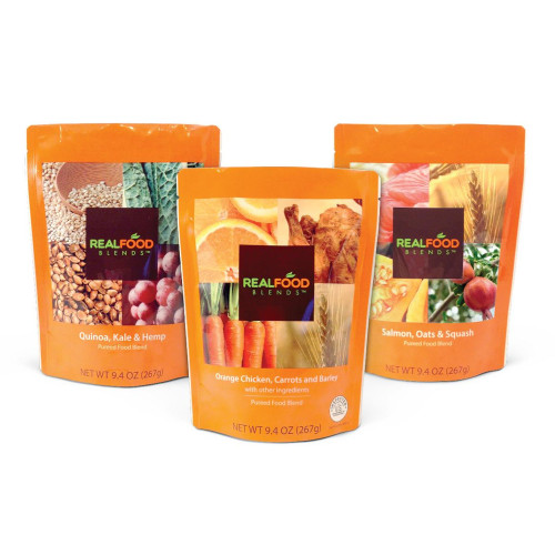 Real Food Blends Variety Pack Tube Feeding Formula, Chicken/Salmon/Quinoa, 176991, Case of 12