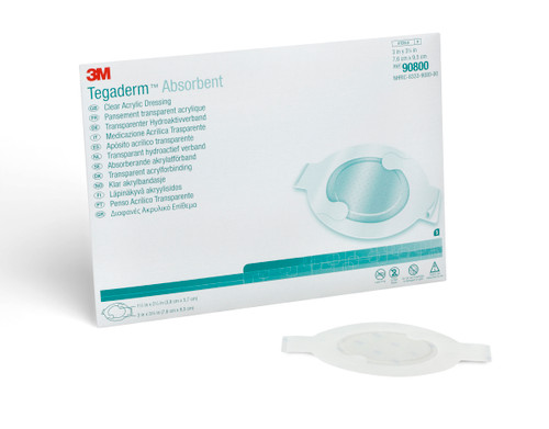"""3M Tegaderm Absorbent Clear Acrylic Dressing, 3 X 3-1/4"""", 90800, Box of 5"""