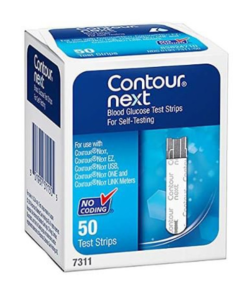 Contour Next Blood Glucose Test Strips for Self-Testing, 7311, Box of 50