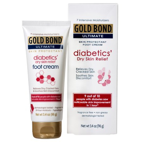 Gold Bond Ultimate Diabetics' Dry Skin Relief Foot Cream, Unscented, 3.4 oz., 4116705400, 1 Each