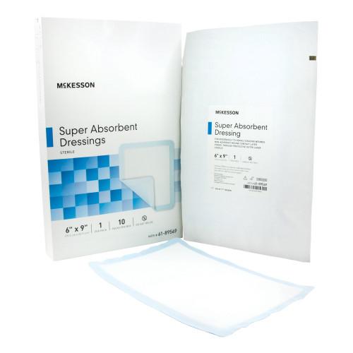 "McKesson Super Absorbent Dressings, 6 X 9"", 61-89569, Box of 10"