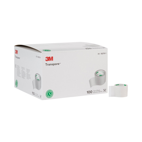 """3M Transpore Water Resistant Plastic Medical Tape, 1"""" X 1.5 yd, 1527S-1, Box of 100"""