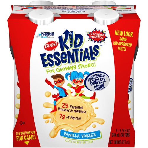 Boost Kid Essentials Nutritionally Complete Drink, 8.25 oz., Vanilla Vortex, 12251151, Pack of 4