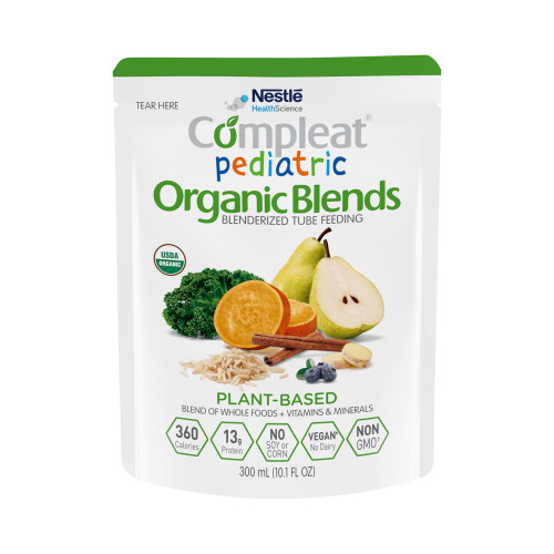 Nestle HealthScience Compleat Pediatric Organic Blend Blenderized Tube Feeding, 10.1 oz, Plant-Based Flavor, 00043900117218, 1 Each