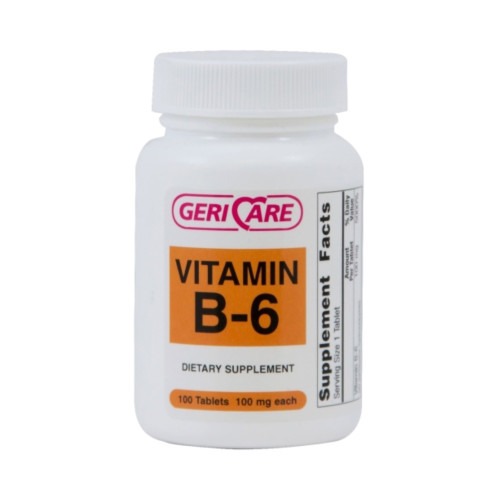Geri-Care Vitamin B6 Dietary Supplements, 854-01-GCP, 100 mg - 1 Bottle (100 Tablets)
