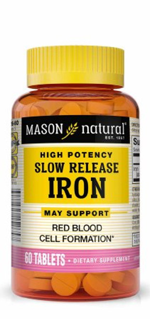 Mason Natural High Potency Slow Release Iron, 50 mg, 31184515265, 1 Bottle (60 Tablets)
