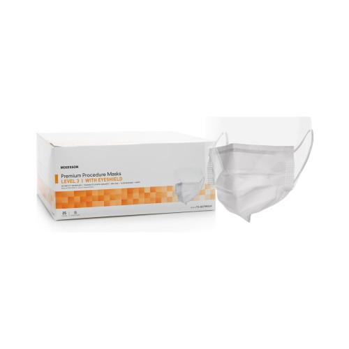 McKesson Premium Procedure Masks with Eyeshield, Level 3, 73-GCPWSSF, Case of 100 (4 Boxes)