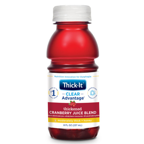 Thick-It Clear Advantage Thickened Cranberry Juice Blend, Moderately Thick, Honey Consistency, B461-L9044, 8 oz. - Case of 24