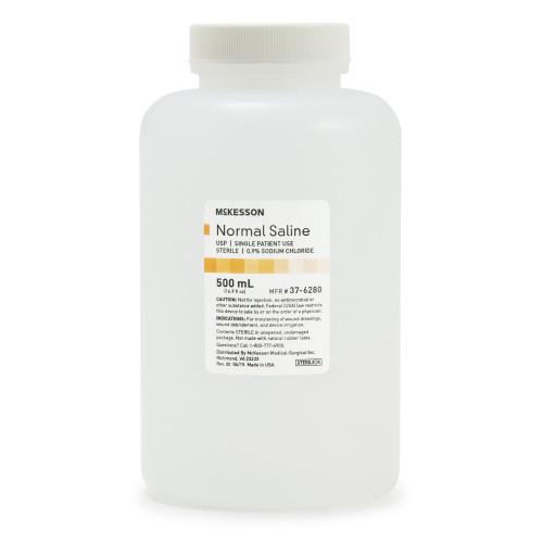 McKesson Normal Saline Irrigation Solution, 37-6280, 500 mL - 1 Each