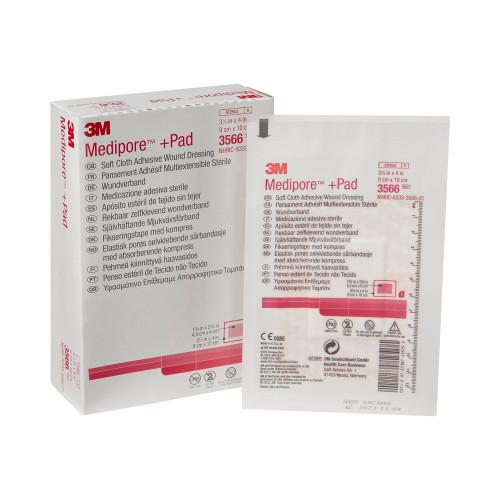 "3M Medipore +Pad Soft Cloth Adhesive Wound Dressing, 3.5 X 4"", 3566, Box of 25"