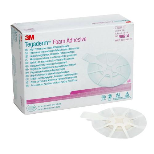 "3M Tegaderm Foam Adhesive High Performance Foam Adhesive Dressing, 2.75 X 2.75"", 90614, Box of 10"