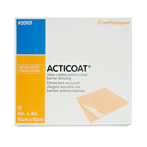 """Acticoat Silver-coated Antimicrobial Barrier Dressing, 4 X 4"""", 20101, Pack of 12"""