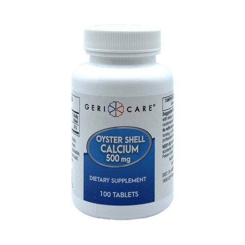 Geri-Care Oyster Shell Calcium Dietary Supplement, 500 mg, 100 Tablets, 741-01-GCP, 1 Bottle