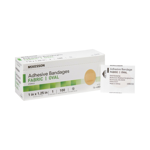 """McKesson Oval Adhesive Fabric Bandages, 1 X 1.25"""", 16-4800, Box of 100"""