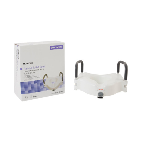 """McKesson Raised Toilet Seat, Removable Padded Arms, Plastic Frame, 5"""" Height, 146-RTL12027RA, 1 Each"""