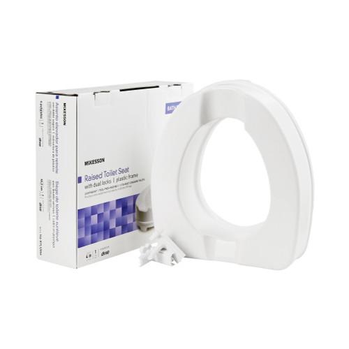"""McKesson Raised Toilet Seat with Dual Locks, Plastic Frame, 4"""" Height, 146-RTL12064, 1 Each"""