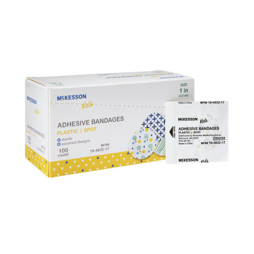 "McKesson Kids Plastic Adhesive Bandages, Assorted Designs, 1"", 16-4832-17, Box of 100"