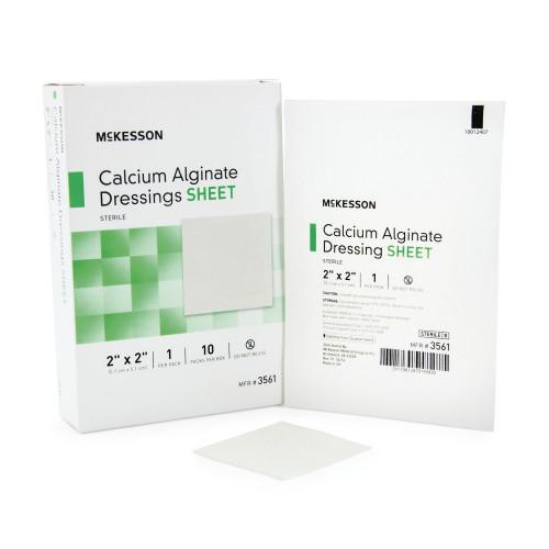 """McKesson Calcium Alginate Dressing, 2 x 2"""", 3561, Box of 10"""