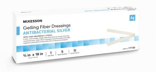 "McKesson Gelling Fiber Dressings with Antibacterial Silver, Rope, 3/4 X 18"", 177180, Box of 5"