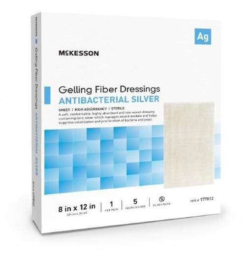 "McKesson Gelling Fiber Dressings with Antibacterial Silver, 8 X 12"", 177812, Box of 5"