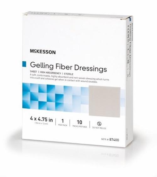 "McKesson Gelling Fiber Dressings Antibacterial Silver, 4 X 4.75"", 87400, Box of 10"