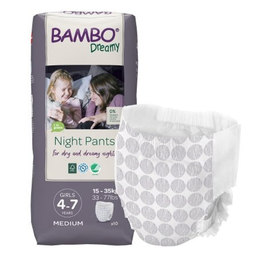 Bambo Dreamy Night Pants for Girls, Heavy Absorbency, 1000018874, 4-7 Years (33-77 lbs) - Bag of 10