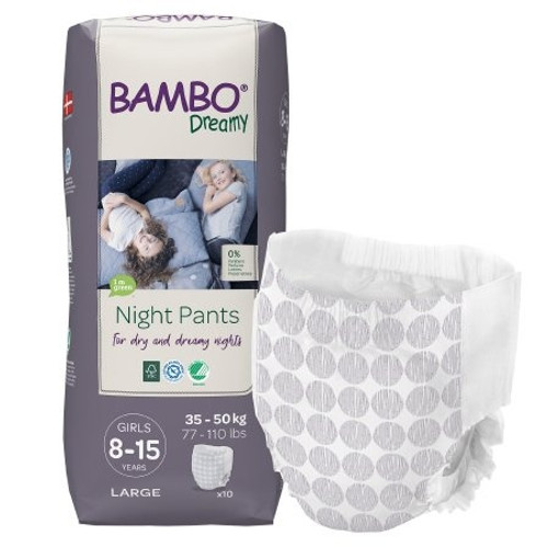 Bambo Dreamy Night Pants for Girls, Heavy Absorbency, 1000018876, 8-15 Years (77-110 lbs) - Bag of 10
