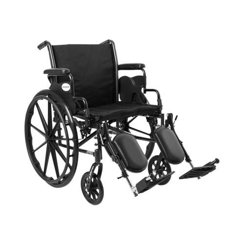 """McKesson Lightweight Wheelchair with Removable Padded Arms, Swing-Away Elevating Legrest, 146-K320DDA-ELR, 20"""" Seat - 1 Each"""