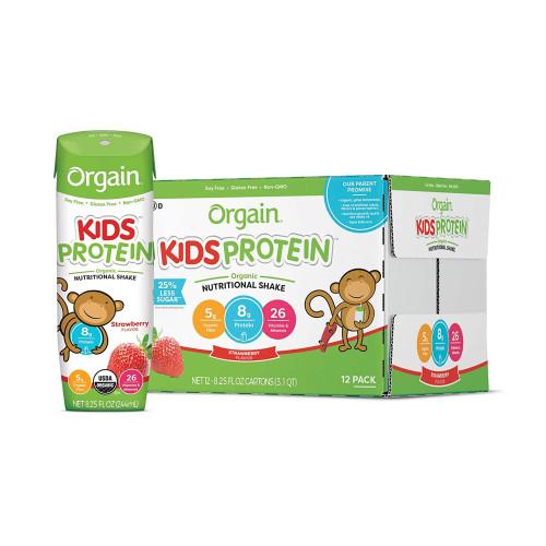Orgain Kids Protein Organic Nutritional Shake, Strawberry, 8.25 oz., 851770003155, Case of 12