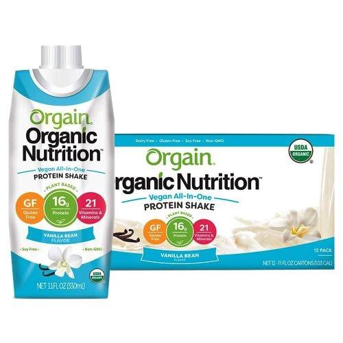 Orgain Organic Nutrition Vegan All-In-One Protein Shake, Vanilla Bean, 11 oz., 851770006743, Pack of 4
