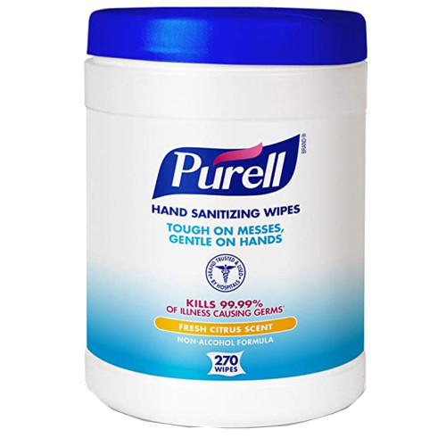 Purell Hand Sanitizing Wipes, Fresh Citrus, 9113-06, Case of 1,620 (6 Canisters)